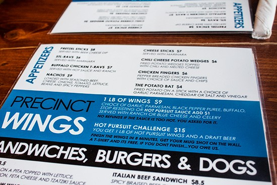 The Precinct's menu.
