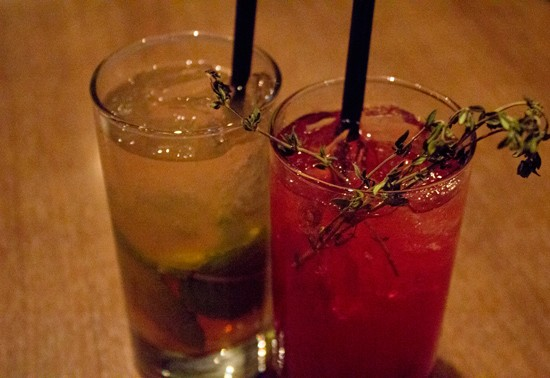 "A non-alcoholic grapefruit cooler and a ""summer thyme"" with American Harvest organic vodka, blueberry honey syrup, lemon, soda and torched thyme. - MABEL SUEN"