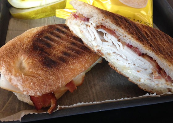 A turkey and havarti panini with bacon. | Nancy Stiles
