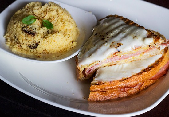 "Pairings' ""Croque-Monsieur"" panini with a side of couscous. - PHOTOS BY MABEL SUEN"