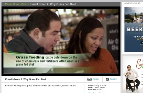 """And here, for your delectation, """"Grass-Fed Emeril"""": Click the screenshot above to watch Emeril Lagasse wax rhapsodic about the green, green glories of grass-fed beef - PLANETGREEN.DISCOVERY.COM"""