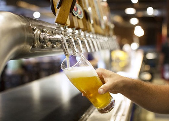 Pouring a Zwickel at Urban Chestnut's Grove Bierhall. | Jennifer Silverberg