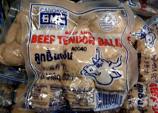 A cross-eyed steer sticking out its tongue captures the essence of these beef tendon balls. | Gut Check photo