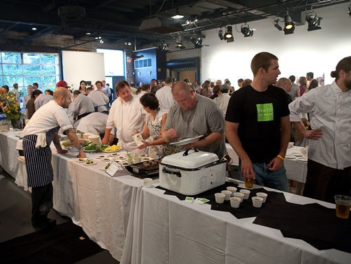 Attendees were not the only ones to sample the food. The chefs took breaks to sample food and talk cuisine with other members of the cooking community. - PHOTO: STEW SMITH