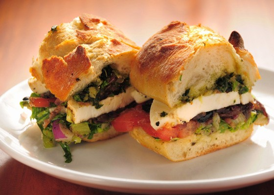 Winfield's Caprese Baguette, with fresh mozzarella, roasted Roma tomatoes, red onion, basil pesto and balsamic vinaigrette on a toasted baguette. | David Lancaster