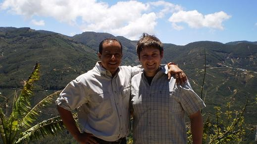 Francisco Mena of Exclusive Coffee (left) and Tyler Zimmer of Kaldi's - PHOTO COURTESY TYLER ZIMMER