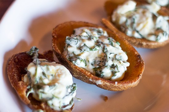 Artichoke-spinach potato skins.