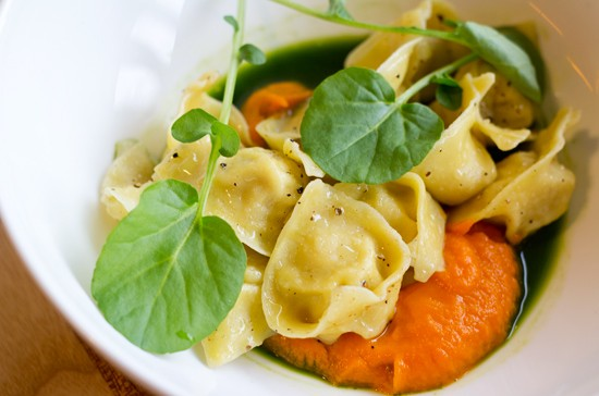 Braised rabbit tortellini with roasted carrot puree, watercress juice, hydro watercress, black pepper and olive oil. - MABEL SUEN