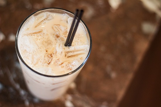 In addition to bloody marys and mimosas, choose from a cafe menu that includes items such as this iced chai latte.