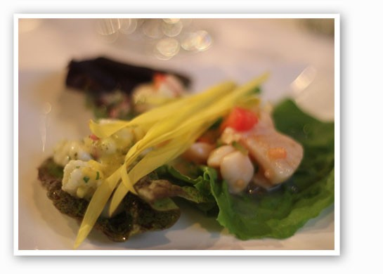 Ceviche, sea bass, scallops and Alaskan halibut. | Nancy Stiles