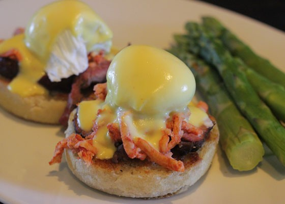 Surf and turf eggs benedict with filet mignon, lobster, poached egg and Hollandaise sauce. | Nancy Stiles