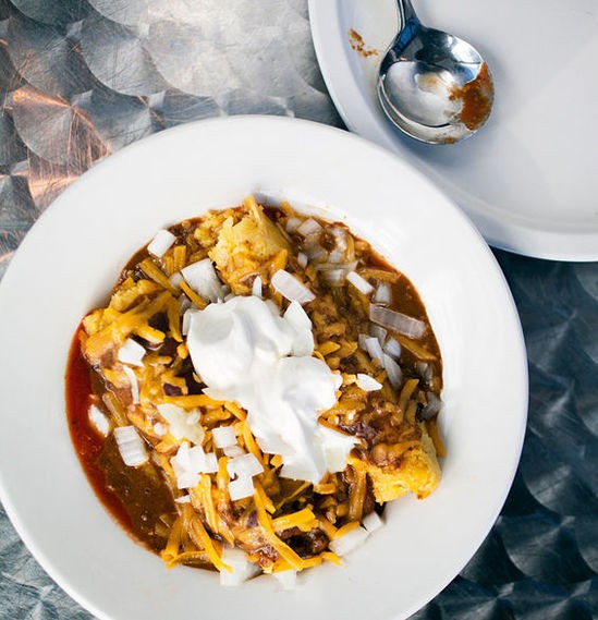 """Tamales with chile and """"special sauce"""" at Joe's Chili Bowl - JENNIFER SILVERBERG"""