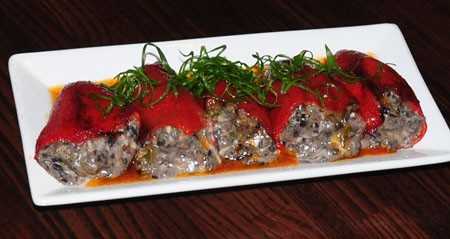 Black bean stuffed piquillos at Sanctuaria | Tara Mahadevan