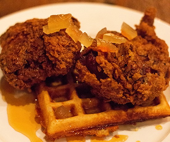 Juniper's chicken and waffles dish with pickled watermelon rind. - MABEL SUEN