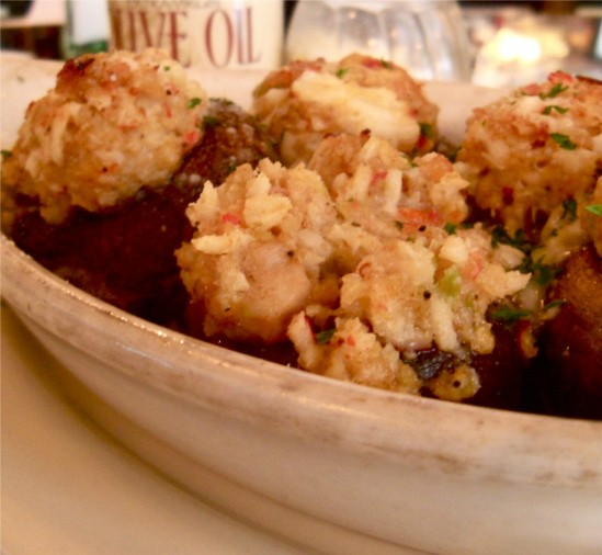 Seafood-stuffed mushrooms, made fresh each day at Zia's. - ETTIE BERNEKING