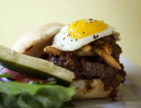 "The ""Slinger"" burger at Baileys' Range - JENNIFER SILVERBERG"