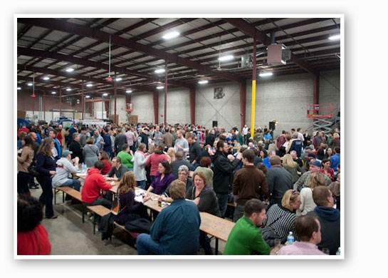 Inside the 70,000 brewery at the Wolpertinger Festival. | Jon Gitchoff