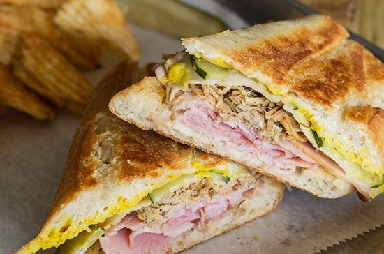 A closer look at the Cuban, one of the brewery's six sandwich options.