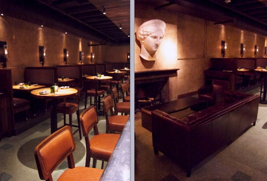 A glimpse of the open, center bar and wall-lining booths (left) near a small seating area complete with wood-burning fireplace (right) at Basso. - LIZ MILLER