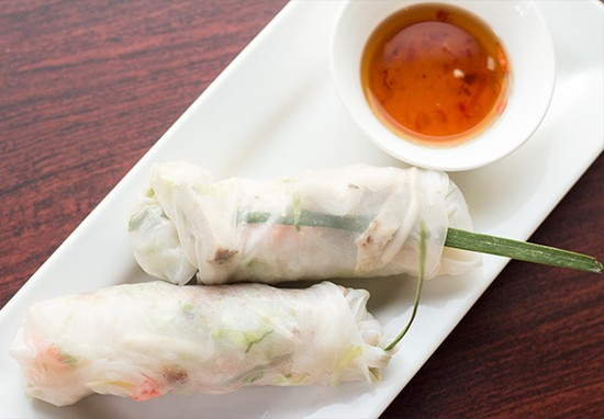 """Fresh Thai Spring Rolls"" with shrimp, roasted pork, pork skin, vermicelli noodle, carrot, basil, chive grass, mint, cilantro and shredded lettuce served with Thai sweet-and-sour-sauce."