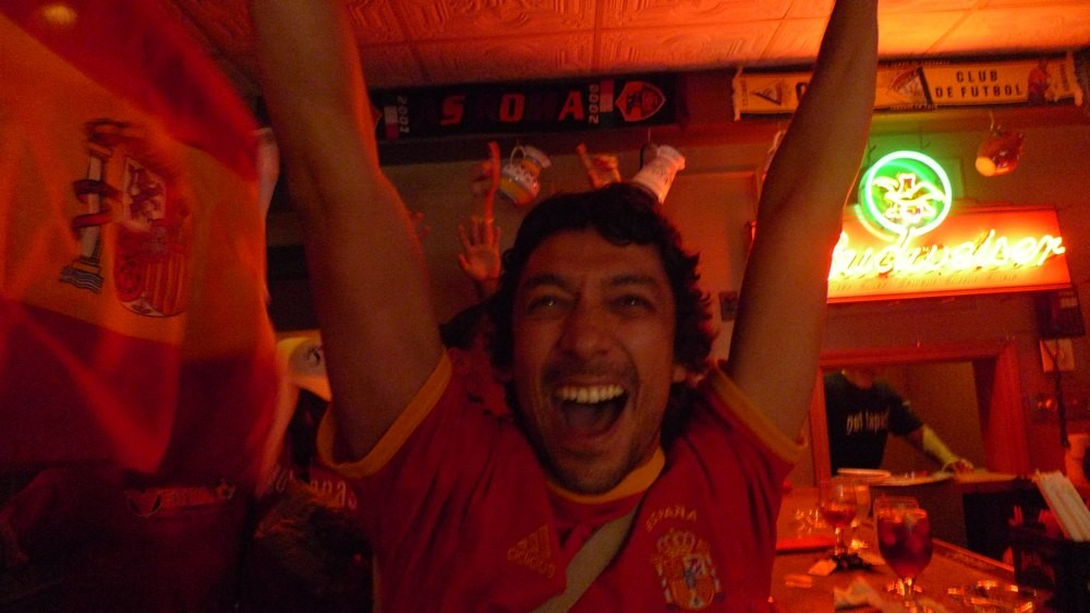 Javier Mendoza goes loco after Spain's winning goal. - PHOTOS BY KEEGAN HAMILTON