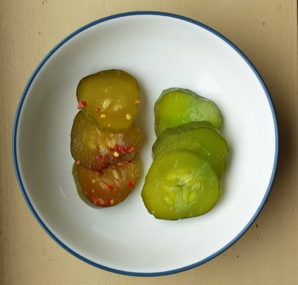 """On the left, """"Spicy-n-Sweet,"""" on the right, """"Green Apple.""""   Jessica Lussenhop"""