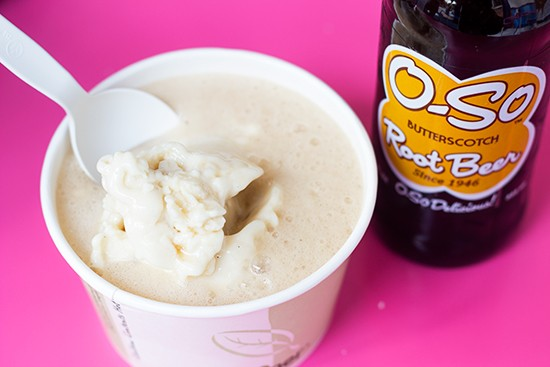 DIY float: Vanilla soy ice cream with butterscotch root beer.