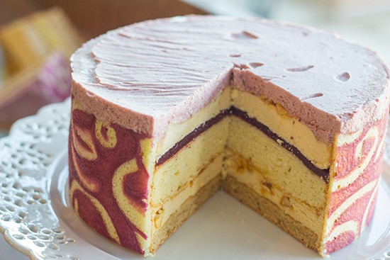 Peanut-butter, concord-grape flourless torte.
