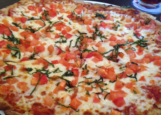 Tomato basil pizza at Market Pub House. | Nancy Stiles