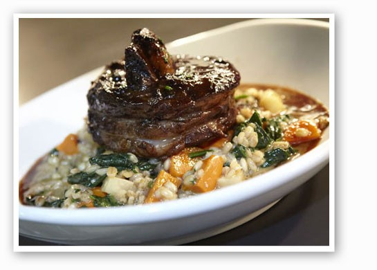 Molly's Beef Burgundy over barley risotto and roasted root veggie. | Steve Truesdell