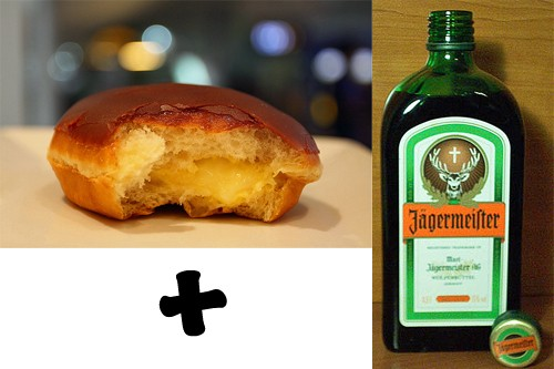 """That """"kreme"""" tends to congeal on the tongue, clammy and flavorless. What better way to honor this pastry's German roots than with an injection of Jägermeister? It's the perfect brunch for college bros everywhere!"""