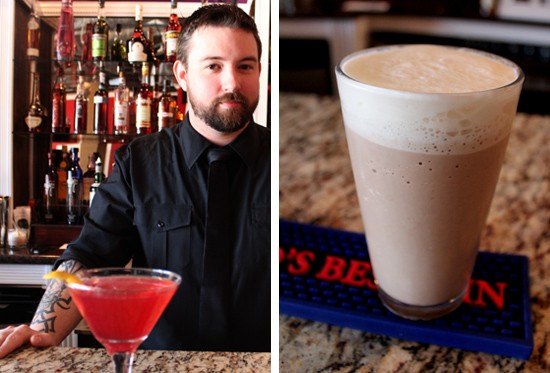 Bar manager Andy Printy with his cosmic cosmo and beer milkshake. - MABEL SUEN