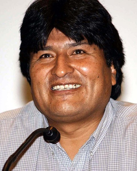 Bolivian President Evo Morales. Note the full head of lustrous hair. - IMAGE VIA