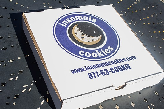 The Insomnia Cookies box.