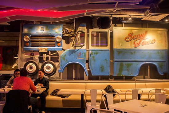 The dining room's decor features an homage to the business' roots as a food truck.