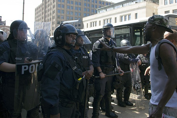 Police and protesters face off in September 2017. - DANNY WICENTOWSKI