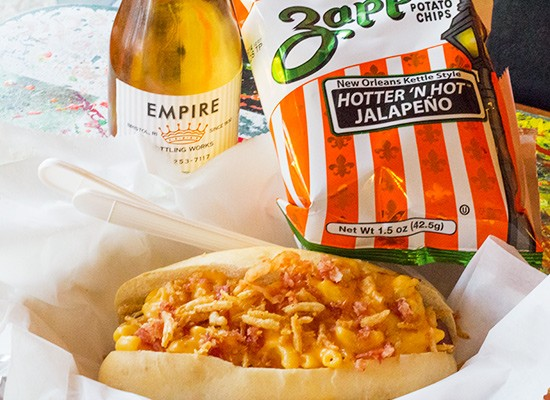 "The popular ""Gorilla Mac & Cheese Dog."""