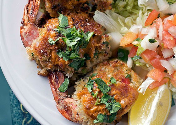 The six-crab meat stuffed shrimp at Las Palmas is breaded and pan-fried, served over cilantro rice with creamy diablo sauce. | Jennifer Silverberg
