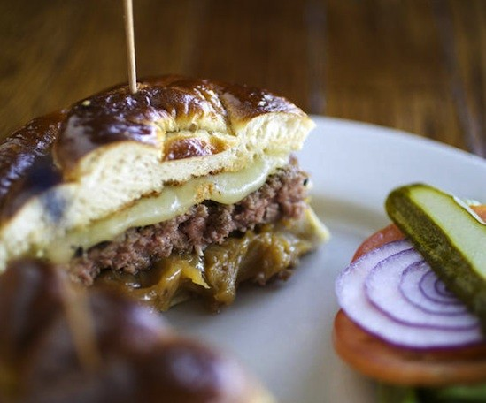 "The ""Pretzel Melt,"" a burger, at Three Kings Public House - JENNIFER SILVERBERG"