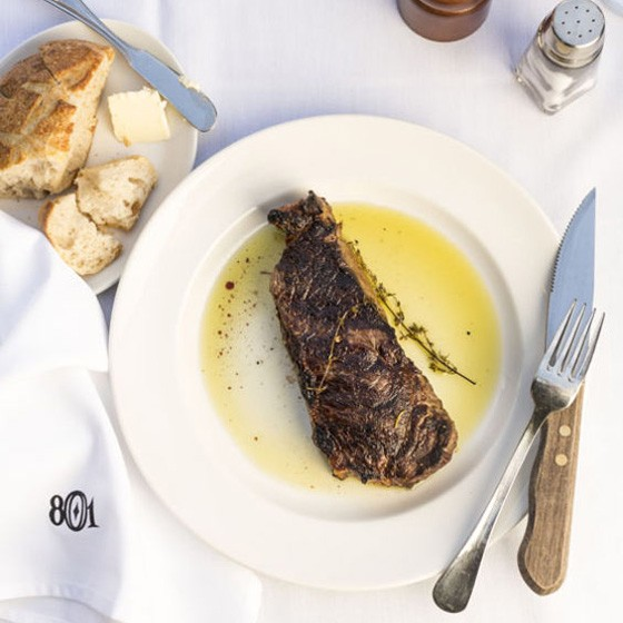 The strip steak at 801 Chophouse. | Jennifer Silverberg