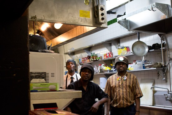 Prep cook Orlando Nabors, chef-owner Alioun Thiam and assistant chef Joseph Rogers in the kitchen. - MABEL SUEN