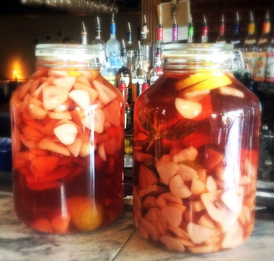 The strawberry-lemon gin infusion and strawberry-citrus-basil infusion. | Patrick J. Hurley