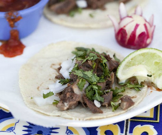 Street tacos -- small tacos with your choice of meat, in this case, beef tongue -- at Siete Luminaries, one of the restaurant's Cinco de Mayo specials. - JENNIFER SILVERBERG
