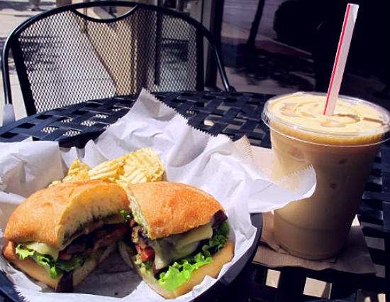 The portabella mushroom sandwich and peach sensation smoothie at OR Smoothe & Cafe. - REASE KIRCHNER