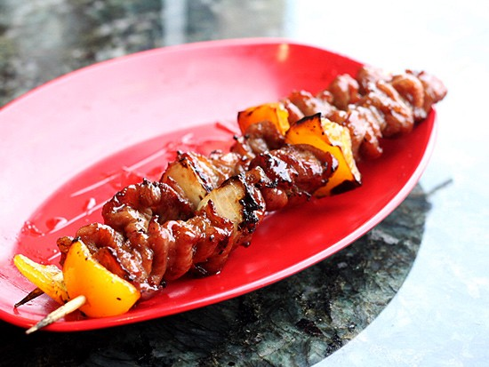 Pork shish kabob appetizer.