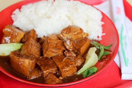 Tofu pork dish.