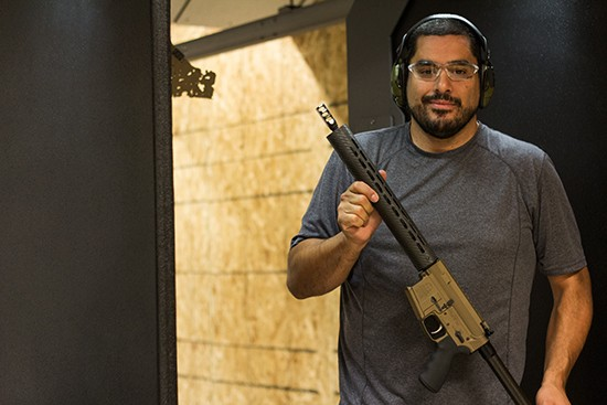 Joe Ziadi tests out gear for his company, Omega Armory.