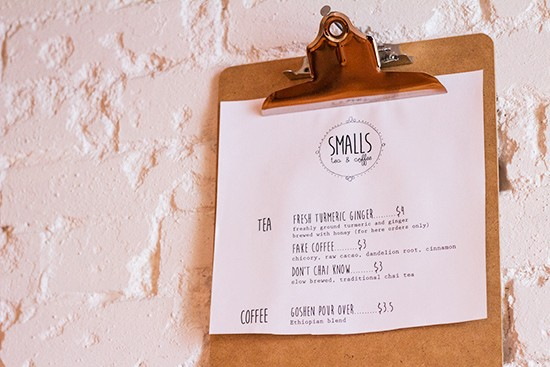 The menu at Smalls.