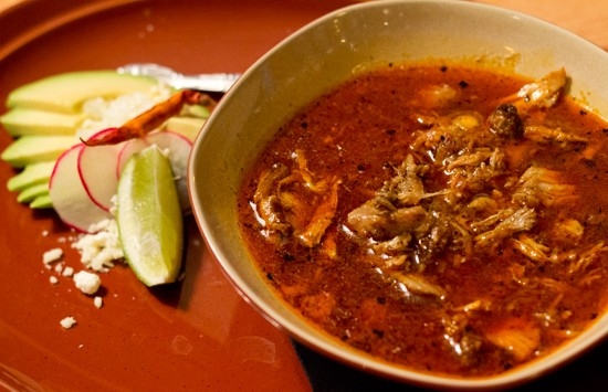 Pozole ($4.95) with pork, hominy and chiles. - MABEL SUEN