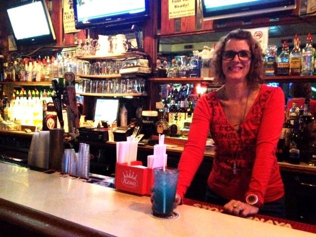 """DePauli with her """"Blue Steel"""" cocktail. - JAIME LEES"""